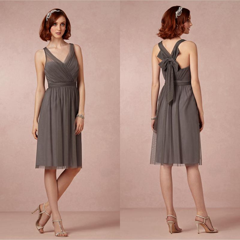 Compre Vestido De Dama De Honor Corto De Color Gris Pizarra Con ...