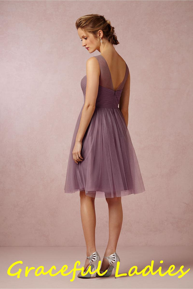 Soft plum illusion crew neck bridesmaid dress short soft tulle please noted that accessories such as removable sparkled skinny sashflowers are sold separately in the picture ombrellifo Choice Image