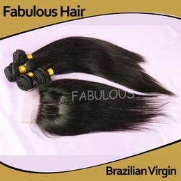 Brazilian Virgin Human Hair Bundle 5pcs Canada - Fabulous Brazilian Virgin Hair 4 Bundles With 1pc three Part Lace Closure Bleached knots,Unprocessed Straight Human Hair Extension 5Pcs Lot