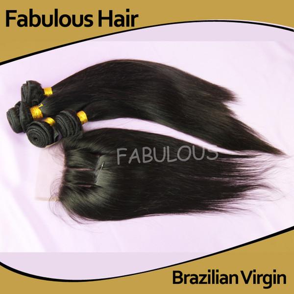 Fabulous Brazilian Virgin Hair 4 Bundles With 1pc three Part Lace Closure Bleached knots,Unprocessed Straight Human Hair Extension 5Pcs Lot