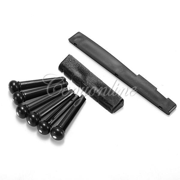 A Set of Black White ABS & Nylon Classic Guitar Bridge Pins 1 Saddle Nut For Folk Guitar