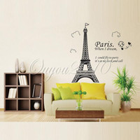 2014 Papel Torre Home Decor New Hot Paris Eiffel removível impermeável Vinyl Decal estar Bed parede da sala do salão do escritório etiqueta