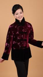 jaquetas estilo chinês mulheres Desconto O Envio gratuito de 2015 nova chegada das Mulheres Chinesas Roxo Bordar Jaqueta Casaco Flores estilo chinês jaqueta para inverno 6 estilo Tamanho M-5XL 2990