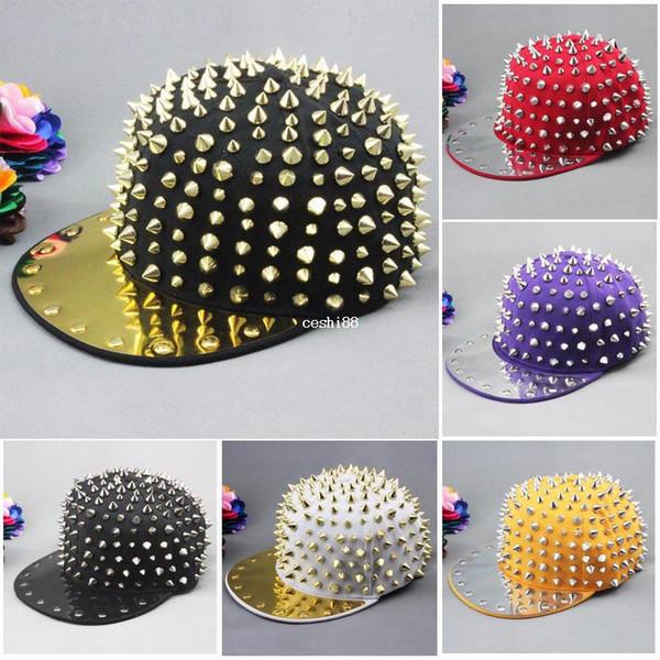 New hot Bigbang jazz boné de beisebol do chapéu Dos Homens / Mulheres Spike Studs Rivet Cap Chapéu estilo Punk Rock Hiphop Para A Escolha Frete grátis