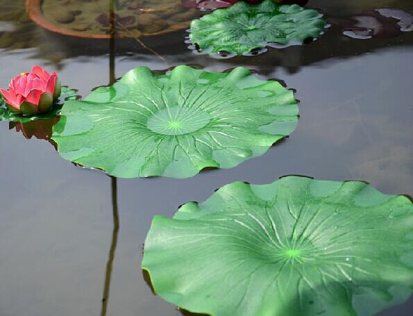 Grön växter konstgjord lotus blomma löv simulering blomma blad konstgjorda flytande vatten växter hem trädgård pool dekor