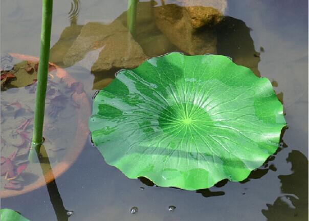 Grüne Pflanzen Künstliche Lotus Blume Blatt Simulation Blume blatt Künstliche schwimmende wasserpflanzen Hausgarten pool Decor