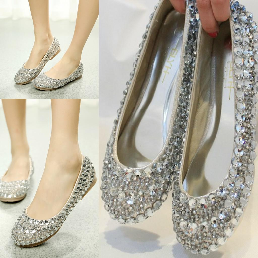 Supper Wedding Party Shoes Low Heel Pant Bling Rhinestones ...