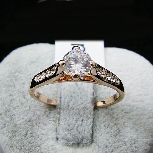 Swarovski crystal Wedding Ring With Side Stones ,stamped 18KGP gold-plating finger ring for 2014 new women jewelry accessories