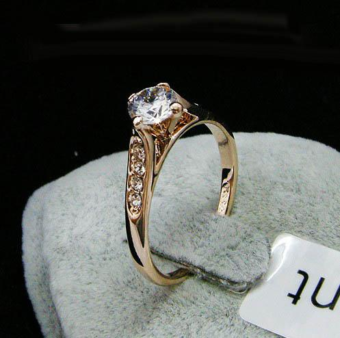 Bague de mariage en cristal de Swarovski avec pierres de côté, estampillée bague pour doigt plaquée or 18KGP pour 2014 nouvelles accessoires de bijoux pour femmes