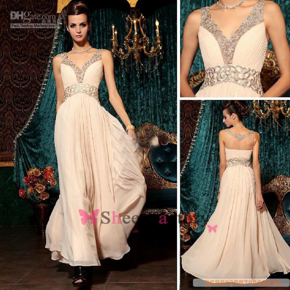 2014 Real Image Sexy Backless Prom Dresses With A Line Stunning Gold