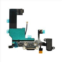Wholesale Dock Connector Port Iphone Parts - For iPhone 5 5G iphone5 Charger Dock Connector Charging Data USB Port Ribbon Headphone Audio Jack Flex Cable Replacement Parts black white