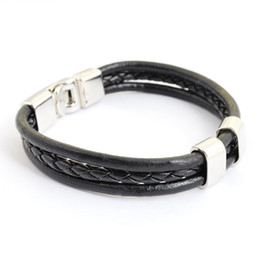 Wholesale Ethnic Braided Bracelet - Fashion Braided Mens Leather Rope Bracelets Multilayer Ethnic Handmade Charm Bracelets Brown Black Color Free Drop Shipping