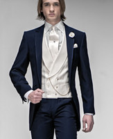 Wholesale Tie Images - 2016 Customize Elegant Bridegrom Navy Blue Morining suit Wedding tuxedo for men groomwear 4 pieces suits set(jacket+tie+vest+pants)CM-7223