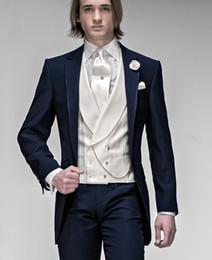Wholesale Yellow Tie Backs - 2016 Customize Elegant Bridegrom Navy Blue Morining suit Wedding tuxedo for men groomwear 4 pieces suits set(jacket+tie+vest+pants)CM-7223
