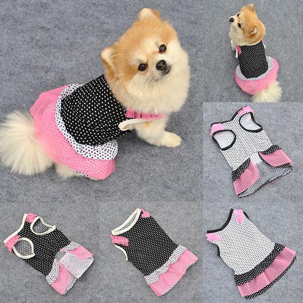 Partido VestuárioVerão Pet Dog Polka Dot Tutu Vestir Filhote De Cachorro Rendas De Seda Roupas XS-L Partido Vestuário Frete Grátis