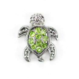 Wholesale Pink Rhinestone Charms - Free Shipping 20 Pcs Floating Charms for Living Locket Green Rhinestone Sea Turtle 12x10mm(W02809 X 1)