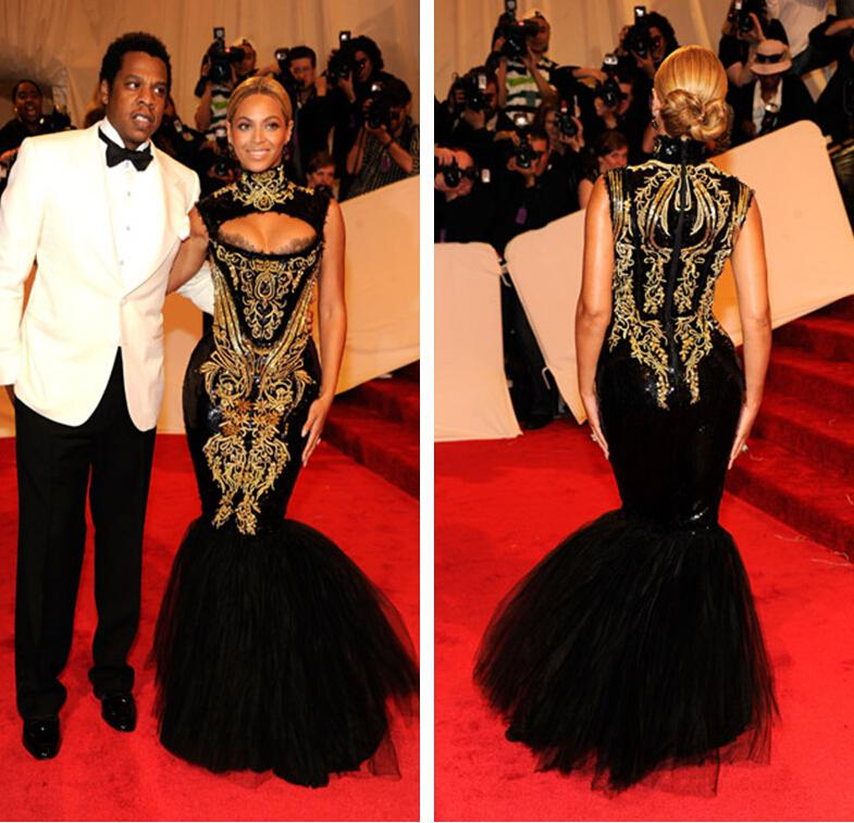 Buy Beyonce Met Gala Celebrity Red Carpet Dress High Collar Cut ...