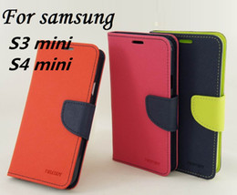 Wholesale Case S4mini - 50pcs Original MERCURY Goospery Color Shock Flip Leather Case for Samsung Galaxy S3mini i8190 S4mini I9190 Wallet Stand Cover slot 12colors