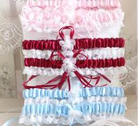 mavi jartiyer beyaz dantel toptan satış-Ücretsiz Kargo Seksi Dantel Garters Bayanlar Düğün Garters Mavi Kırmızı Beyaz Pembe Papyon Gelin Jartiyer