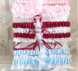 Wholesale Red Wedding Garters - Free Shipping Sexy Lace Garters Ladies Wedding Garters Blue Red White Pink Bowtie Bridal Garter
