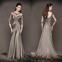 Wholesale Long Shirts Gowns - 2017 Luxury Chocolate Mother of the Bride Sheer Scoop Neck Sweep train 3 4 Long Sleeves Beading Ruched Chiffon Dress Formal Gowns