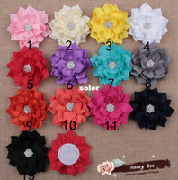 "Wholesale Kanzashi Headband - DIY 3"" Winter Flowers Kanzashi Fabric Flower With Starburst Button Center Photo Props For Headbands Accessories 30pcs lot."