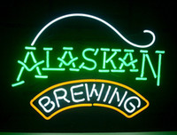 """Wholesale Green Lighting Company - NEW ALASKAN BREWING COMPANY REAL GLASS NEON SIGN BEER BAR PUB NEW LIGHT SIGN 17""""-33"""""""
