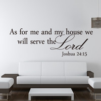 Wholesale Inspirational Vinyl Wall Decals - Free Shipping As for me and my house Religious Removable Vinyl Sticker Quote God Lord Christ Inspirational Wall Decals
