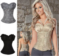Wholesale Women S Embroidered Corsets - 2014 Hot Sale Plus Size Sleepwear Sexy Women Corset Lace Tops Bustier Satin Embroidered shaper cinche Corsets Overbust corselet