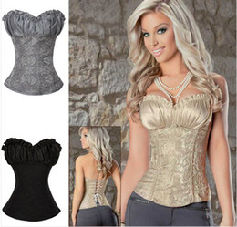 Wholesale Satin Sexy Sleepwear - 2014 Hot Sale Plus Size Sleepwear Sexy Women Corset Lace Tops Bustier Satin Embroidered shaper cinche Corsets Overbust corselet