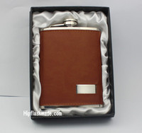 Wholesale Hip Wraps - New style 8oz stainless steel hip flask with brown leather wrapped ,customized logo accept