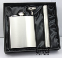 Wholesale Flask Holder - 8 oz Stainless steel cigar holder with liquor flask with funnel set in black gift box