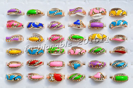Wholesale Drip Glaze - FREE Wholesale Lots 100pcs   Lots CZ Crystal Rhinestone Glaze oil drip Gold Plated Woman Rings #R004