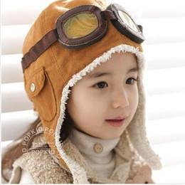 Wholesale Black Pilot Cap - Fashion Winter Baby Boys Ear Flap Cap Children Outdoor Pilot Hat Fur Cap Snow Hats Coffee Black 3656