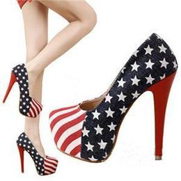 Wholesale Denim Pumps - 2014 Hot Fashion Sexy Women Lady Platform Pumps American Flag Stiletto High Heels Shoes 14cm Sze:35-40 C0179