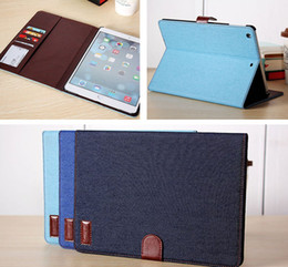 Wholesale Luxury Leather Ipad Mini Cover - Luxury Denim Jeans Wallet Flip Smart Cover PU Leather Stand Case With Card Slot Photo Frame For iPad 2 3 4 5 6 Air Air2 Mini Mini2