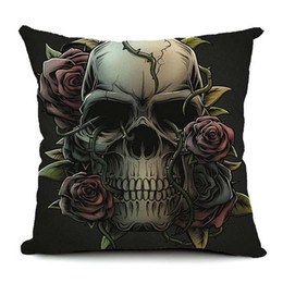 Skull car pillow online shopping - Hot Sale Skull Rose Custom Cushion Cover Gothic Indian Style Punk Pillows Cover Car Sofa Pillow Case Bedroom Decoration Halloween Festival