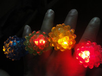 Wholesale Dj Flashing Lights - Strawberry Glow Light Ring LED Flashing Finger Ring Bar DJ Rave Toys Light Up Elastic Rubber Blinking Ring Halloween Party 10pcs