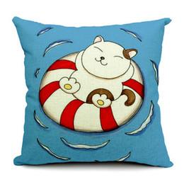 Car Sofa Couch Canada - Cartoon Fat Cat On Swim Ring Cushion Cover Pillow Case Decorative Linen Cotton Cushions Pillows Covers For Sofa Couch Chair Car