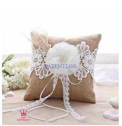 Wholesale Pillow For Wedding Rings - Hot! Unique Wedding ring pillow champagne linen ribbon Ring Pillow for Wedding Ceremony Party for free shipping