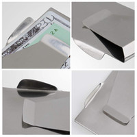 Wholesale Stainless Steel Mn - Wholesale-MN-10Pcs Slim Money Clip Double Sided Cash Credit Wallet Stainless Steel Hot New