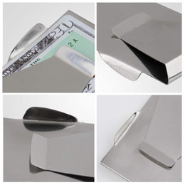 Wholesale Stainless Steel Money Clips Wholesale - Wholesale-MN-10Pcs Slim Money Clip Double Sided Cash Credit Wallet Stainless Steel Hot New