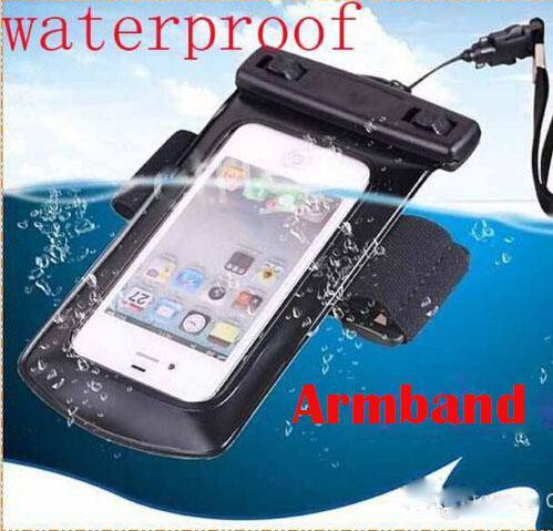 77e91e15a08 Carcasa Para Celular Funda De Bolsa Sumergible Universal Impermeable De PVC  Para El IPhone 4S 5 5S 5C 6 Samsung Galaxy S3 S4 S5 HTC Sony M8 Con  Brazalete ...