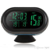 12v uhren autos großhandel-12V / 24V Auto Auto LED-Anzeige Thermometer + Voltage Meter + Noctilucous Clock + Freeze Alarm CEC_644
