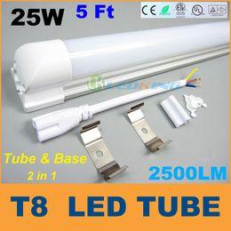 Ce Fluorescent Lighting Canada - T8 LED Tube Integrated 25W 1.5m 5ft LED fluorescent SMD2835 2500LM led lights AC85-265V CE FCC ETL SAA UL 25pcs lot