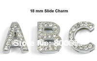 Wholesale Wholesale Stone Dog Collar - MOQ 26pcs!Free Shipping!18mm Rhinestones Slide Letter Charm For Dog Collars (Clear Czech Stones)
