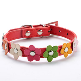 Wholesale Studded Dog Harnesses - Sweet Flower Studded Puppy Pet Dog Cat Collar Leather Buckle Neck Strap Collar LX0143 Free&Drop Shipping