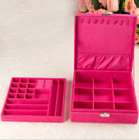 Wholesale Large Earring Storage Jewelry Box - 2014 Fashion wedding birthday gifts large jewelry accessories box rings necklace earrings storage boxes free shipping