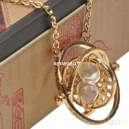 Wholesale Harry Potter Necklace For Men - For Harry Potter Time Turner Necklace Hermione Granger Rotating Spins Gold Plated Hourglass for Women Men