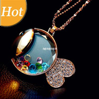 Wholesale Gold Fish Long Necklaces - Cute Fish Charm Crystal Gem Gold Plated Long Necklaces & Pendants 2014 New Children Fashion Jewelry For Women Wholesale N3